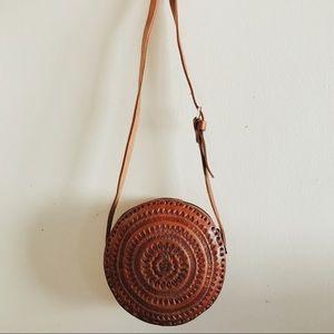 Small Leather Round Chiapas Bag